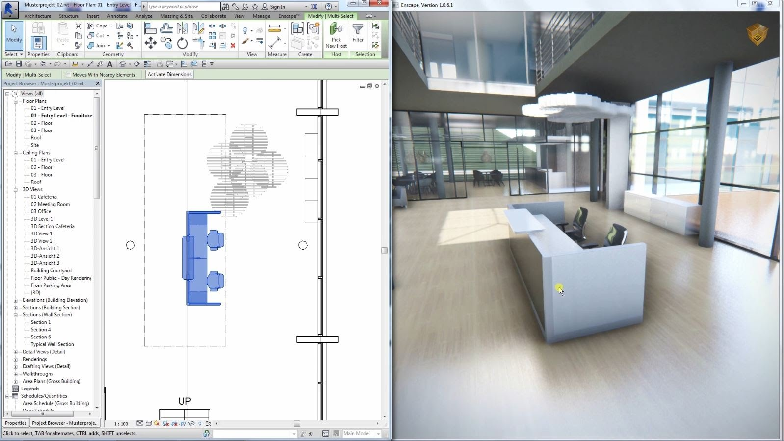 Create an accurate architectural planning with Revit enscape real