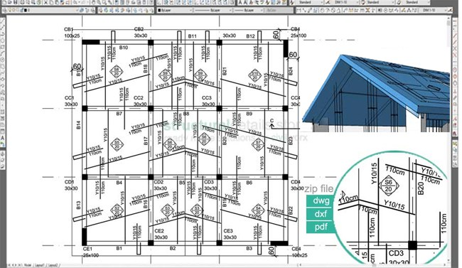 Download Sample Cad Drawing Of Inclined Pitched Roof Concrete Slab