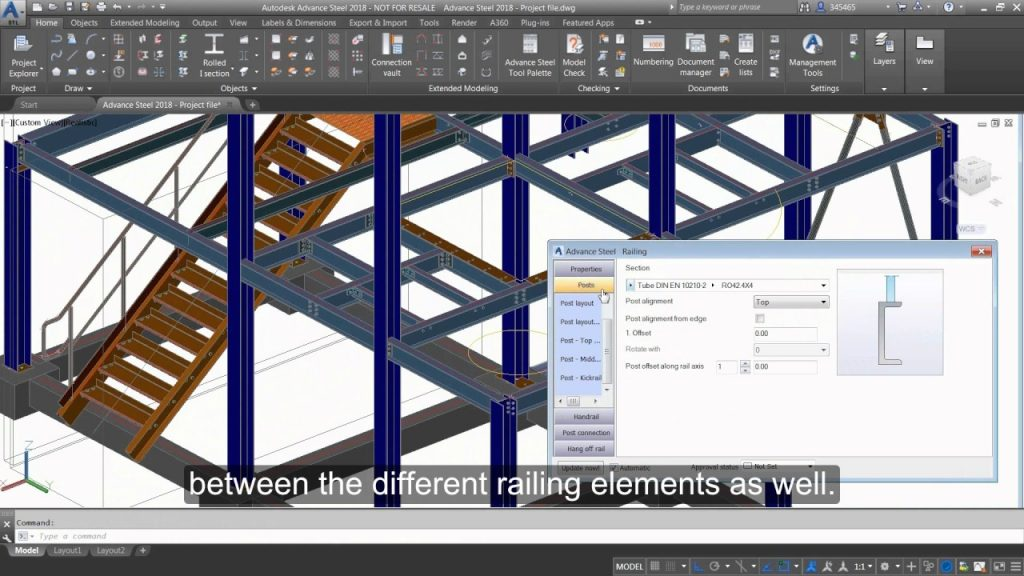 Getting Started with Advance Steel: Part 12 - Inserting a railing on