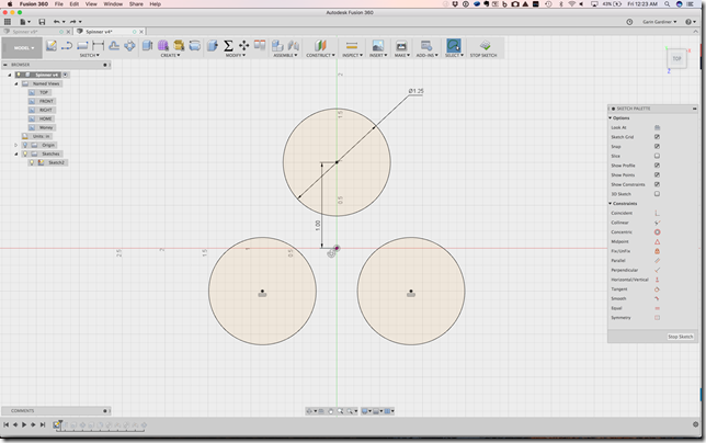 Begining the spinner design in Fusion 360