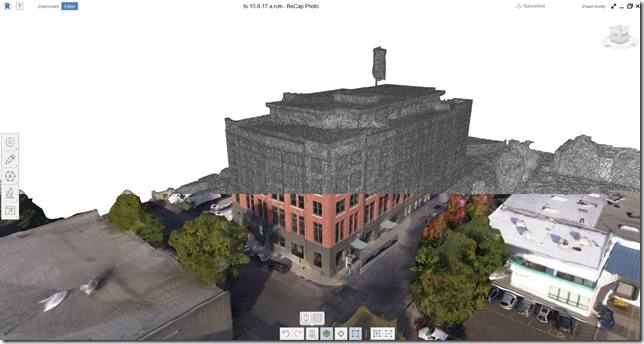 ReCap Photo model generated from 279 photos of a building being renovated. I split the screen capture to show the textured as well as the mesh display.