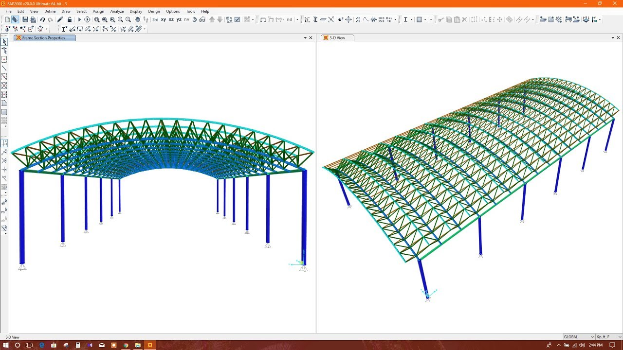 Curved Roof Truss Barrel Roof Truss Modeling In Sap2000