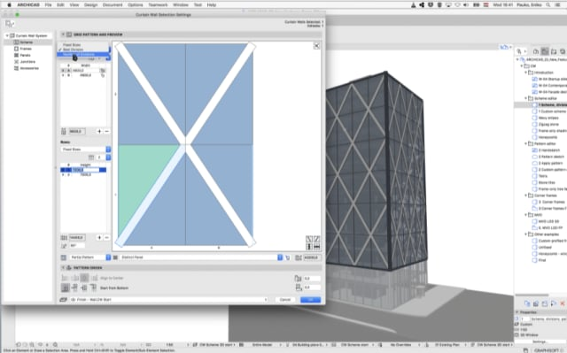 The new Curtain Wall tool, open over top of a 3D model. The pattern in the tool can be repeated across the building, making it effective for large-scale pattern work. (Image courtesy of GRAPHISOFT.)
