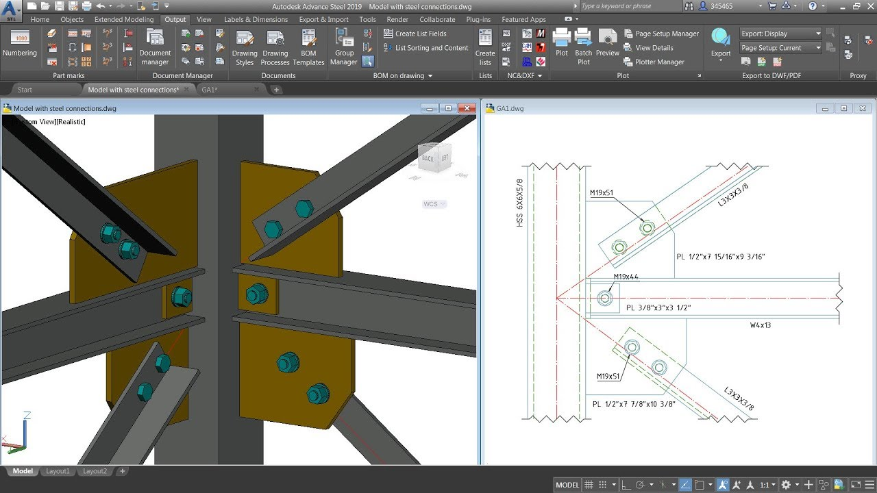 Advance Steel Creating A Drawing Showing Parts