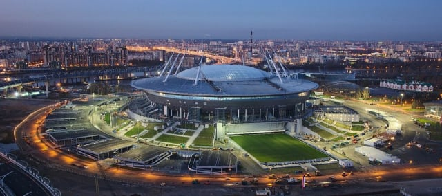 Zenit Arena, also known as Krestovsky Stadium or Saint Petersburg Stadium. (Image courtesy of St. Petersburg Official City Guide.)