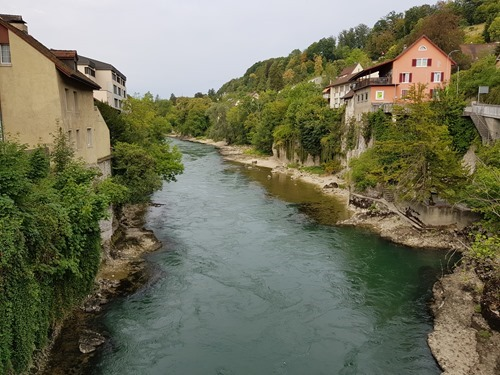 The Aare in Brugg, just before it heads north to Germany