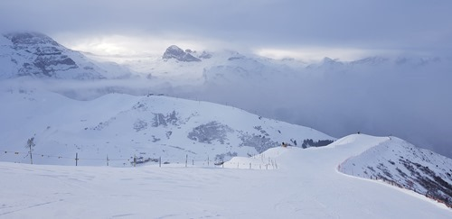 The piste from Lavey towards Hahnenmos in Adelboden on Saturday morning