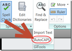 AUTOCAPS Option drop down in ribbon in AutoCAD 2014