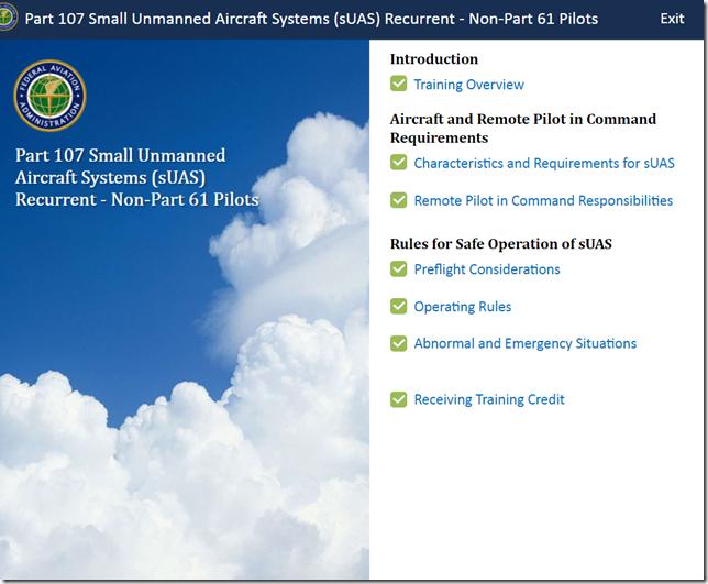 FAA Part 107 Small UAS Recurrent Non-Part 61 Pilots Exam