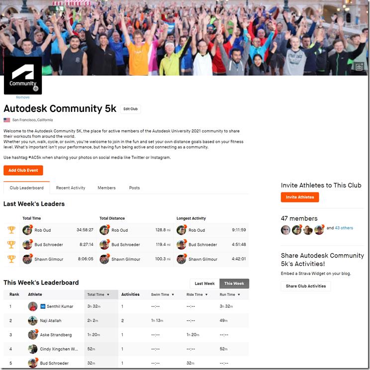 Autodesk Communty 5k Strava Club